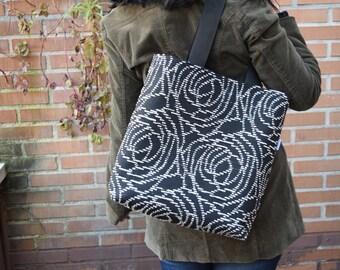 Canvas tote,canvas tote bag,roses tote,black tote,canvas purse bag,shopping bag,spiral tote bag,black totes,womens tote bag,fabric purse