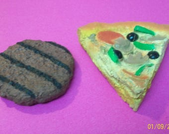 Pizza Slice  And Grilled Brown Hamburger Vintage Pretend Play Food Looks Like Supreme Kid's Pretend Play Food Items Great For Craft Projects