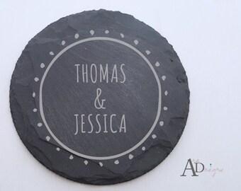 Personalized Slate Coasters Engraved Personalized Coaster Custom Coaster Personalized Wedding Gift Housewarming Gift Couple Gift 1