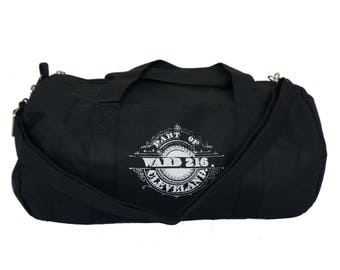 Black Duffel Bag with 'Ward 216' in White Ink