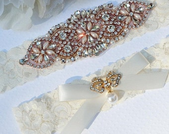 ON SALE Wedding Garter, Wedding Garter , Bridal Garter, Vintage Garter Set, Rose Gold Garter Set,  Rose Gold Wedding Garter Set