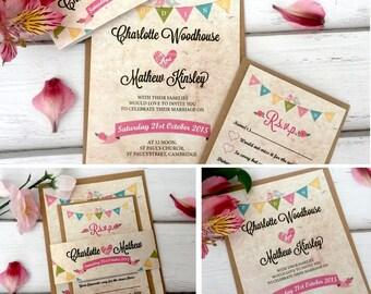 Personalised Vintage Wedding Invitations With RSVP Card & Brown Kraft Envelopes