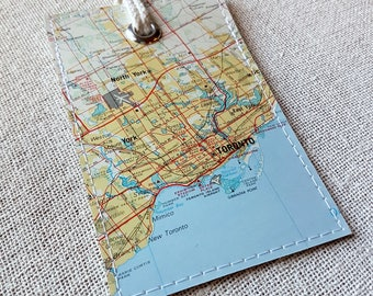 Toronto Canada luggage tag made with original map