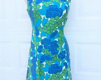Vintage 1960s 1950s mod Beachcomber retro floral green blue shift dress size S M