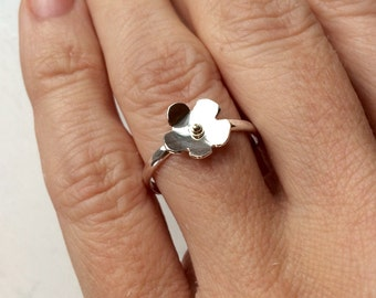 Sterling Silver petite flower with accent of gold-size 7 1/2 Ready to Ship - Handmade silver ring