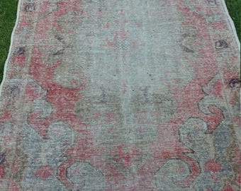 """Oushak Rug Area RugVintage Turkish Rug, Office Decor,Stakes, Pale red and blue,Home Living,Berber Rug,4'8×7'5""""feet"""