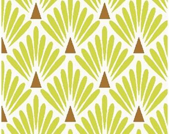 Fabric Lemongrass green scales - fabric art deco - Nadège fabrics - 1/2 meter