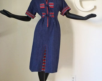 Vintage 70s Hippie Boho Denim Dress 1970s Dress with Southwestern Indian Blanket Sweater Trim Soft Crinkle Brushed Denim Blue Jean Fabric S