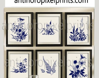 Flower Garden Botanical Print Gallery Set of (6) 8x10- Art Prints (Featured in Creme Background and Navy) Blue Off White Khaki (Unframed)