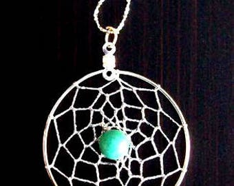 """Native made TURQUOISE DREAM ll Dream catcher pendant necklace with 18"""" Sterling silver diamond cut chain"""