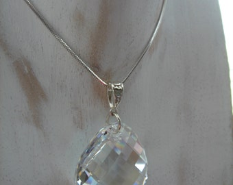 Long silver necklace, pendant Swarovski element, Sterling Silver