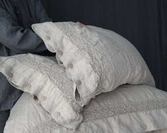 LINEN DUVET COVER. Set of duvet cover and pillowcases with lace. Natural French linen bedding set. MOOshop new *1