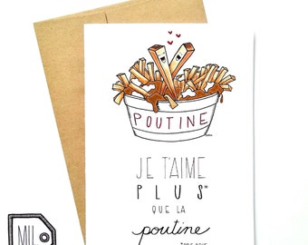 French card - love card - Valentines card - Anniversary card - funny card - food card - montreal - je t'aime plus que la poutine