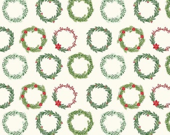 SALE Comfort and Joy Wreaths Cream by Riley Blake Designs - Christmas Holiday Holly - Quilting Cotton Fabric - choose your cut