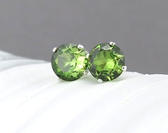 Peridot Stud Earrings Small Silver Earrings Peridot Earrings Post Earrings Green Earrings August Birthstone Jewelry Holiday Gift for Her