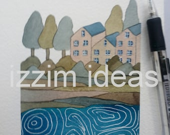 Original watercolour hand painted illustration of houses landscape