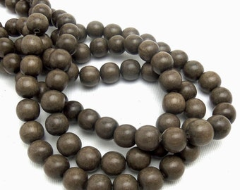 Graywood, 10mm, Round, Smooth, Natural Wood Beads, 16 Inch Strand - ID 1041