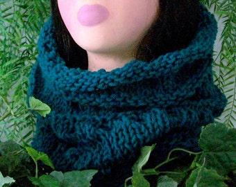 SCARF WOMEN KNITTED Cowl   Hoodie, Wool Alpaca Blend, Soft, Warm, Handmade