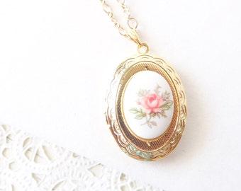 Vintage Rose Locket Necklace 16k Gold Plated - Gold Locket - Oval Locket - Keepsake - Vintage Limoges - Pink Rose Gold Locket