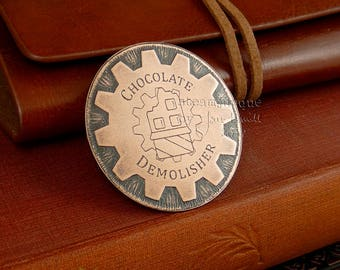 """Chocolate addict's brooch, steampunk copper brooch, chocolate brooch, """"Chocolate Demolisher"""", achievement badge, gift for a chocolate lover"""