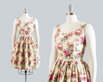 Vintage 1950s Dress | 50s Rose Floral Print Sundress Cotton Full Skirt Romantic Cream Day Dress (small)