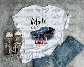 Made In The USA Vintage Car Sublimation Transfer