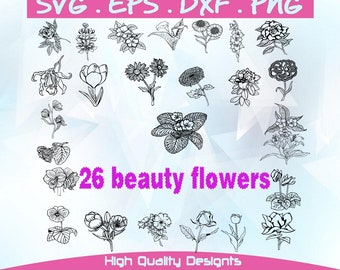 Flowers, cut, vector, svg,dxf,eps,png,garden, sunflower silhouette,decal, stencil, garden flower.