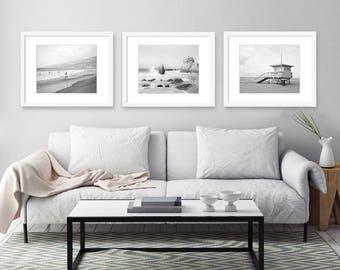 Black and White Beach Photography, Malibu California, Set of 3 Prints, Los Angeles, Wall Art, Coastal Decor, Ocean, Beach Decor, Print Set