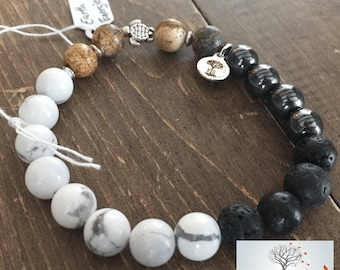 "Natural Stone Elastic Bracelet - ""Earth Energies"" (Howlite, Picture Jasper, Hematite, Lava Rock)"