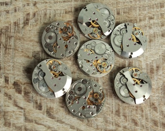 """watch movements / lot of 7  (0.8 """") / jewelry supplies / Steampunk supplies /  Watch movements for art / Vintage / Steampunk Findings"""
