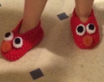 Elmo Slippers / Indoor Shoes / Crochet Slippers