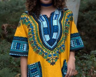 DASHIKI / Yellow Dashiki / Women's Dashiki / Men's Dashiki / Kubitees / Plus Size Dashiki / Dashiki Dress / Affordable Dashiki