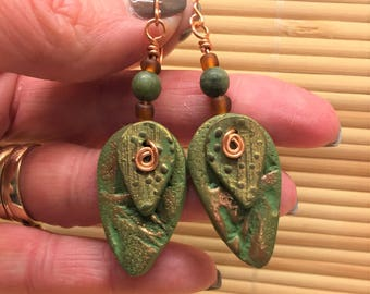 Rustic Leaf Layered Drop Earrings Metallic and Green - Handmade Bohemian Jewelry for Women Gift for Wife Girlfriend Hippie Mom Teacher