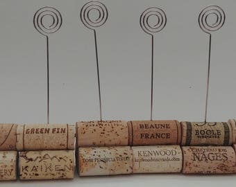 Set of 6 Swirl Wire Upcycled Cork Card Holder, table number holder, photo holder, party supplies, wedding supplies