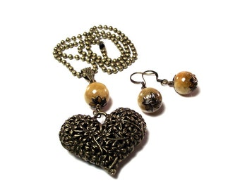 Necklace and Earrings - Antique Brass Vintage Style Heart Pendant Necklace and Earring Set Featuring Golden Quartzite