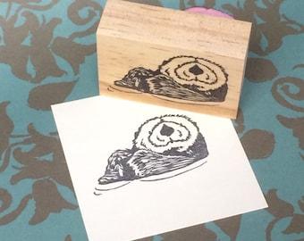 Hand carved rubber stamp - otter design.