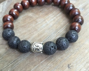 Yogi inspired brown wood bead mala meditation bracelet with lava stone and buddha head for men or women