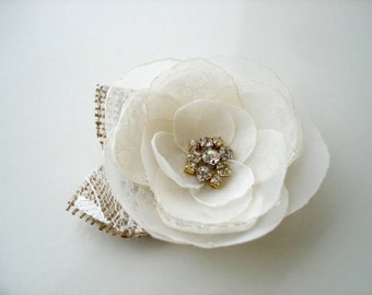 Burlap Lace  Bridal Flower Hair Clip, Ivory  Hair Piece Wedding Hair Accessory, Rustic Hair Clip, Wedding Hair Flower, Crystal  Head