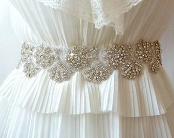 BRIDAL SASH , Sash Wedding Gown ,Wedding Sash ,wedding RHINESTONE sash , bridal rhinestone sash ,Wedding Gown sash bridal belt ,jeweled sash