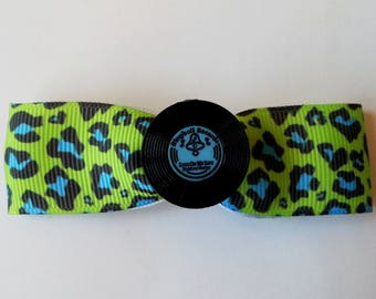 Barrette blue and green leopard and LPs ♥ ♥