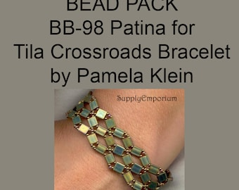 BB-98 Patina Bead Pack for Tila Crossroads Bracelet by Pamela Klein - Tutorial Sold Separately - Bead Pack BB98