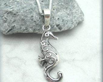 Filigree Seahorse Necklace, Sterling Silver, Beach Jewelry, Ocean Jewelry, Beach Necklace, Sea Horse Necklace, Ocean Animal