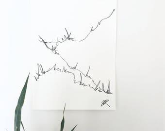 "Minimal art, abstract art, black and white art, minimal landscape, black and white art, line drawing, Scandinavian decor, 18""x24"" art"