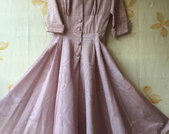 1950s moire taffeta flared skirt dress with rhinestone buttons