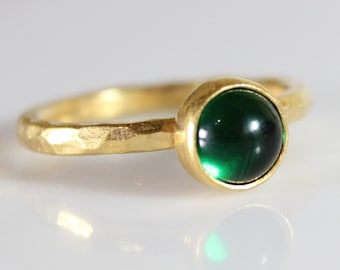 Cabochon Emerald Handmade 925K Sterling Silver stack Ring 18K Gold Plated Over Silver