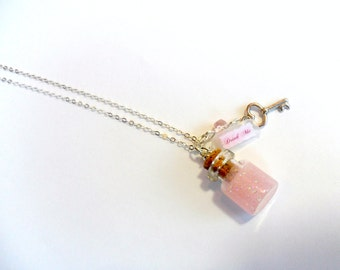 Alice In Wonderland Sterling Silver Pink Drink Me Bottle Charm Necklace, 925 silver chain, Cute, Kawaii :D