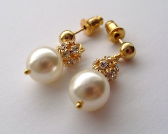 Bridal Earrings, Wedding Grace Swarovski Pearl and Rhinestone Ball Stud Earrings GOLD, Bridesmaids earrings, Maid of Honor, Mothers day gift