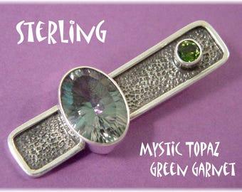 "Sterling Silver - Modernist Oxidized 1 5/8"" Pendant - Tsavorite Green Garnet - Green Purple Mystic Topaz - Modern Art Artisan  FREE SHIPPING"