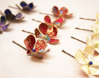 Fabric Flower hair clip x 3 -  wedding hair accessories - bridesmaid, bride, flower girl - any custom colour combination by lovemimo on etsy