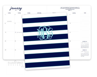 Personalized Monthly Desk Calendar. Monthly Planner. Desk Calendar. Preppy Calendar. Monogrammed Calendar. Planner.